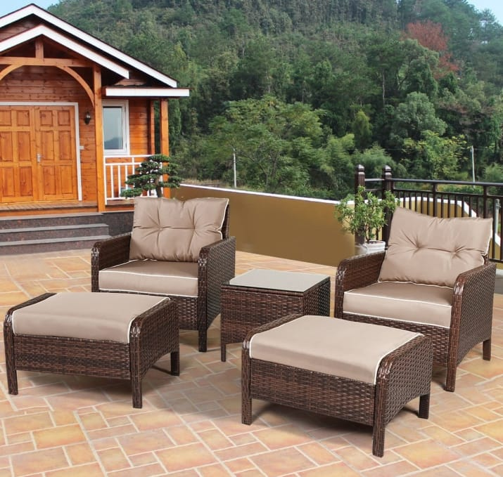 A five-piece outdoor furniture set that'll make your friends think they  showed up at a celebrity patio, when really it's just your glamorous space. - The Best Patio And Outdoor Furniture You Can Get On Amazon - HomeKnows